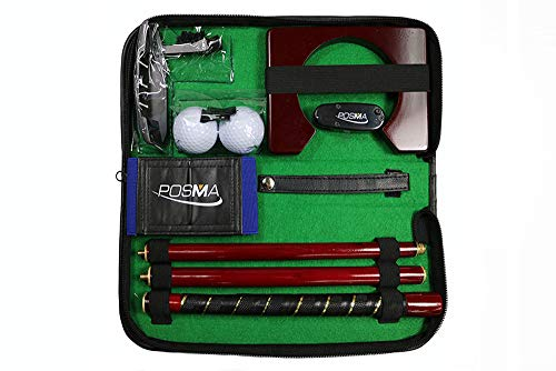 POSMA GSP020WD2 Portable Golf Putter Putting Trainer Gift Set Kit with Aluminum 4-Section Putter, Laser Putting Aid, Arm Posture Corrector, 2pcs Balls, Putting Cup Training Putter Practice