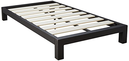 In Style Furnishings Stella Modern Metal Low Profile Thick Slats Support Platform Bed Frame - Twin Size, Black