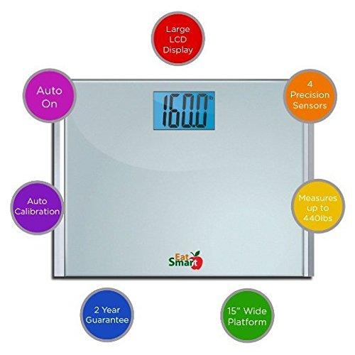 EatSmart Precision Plus Digital Bathroom Scale with Ultra-Wide Platform, 440 Pound Capacity by EatSmart (Image #7)