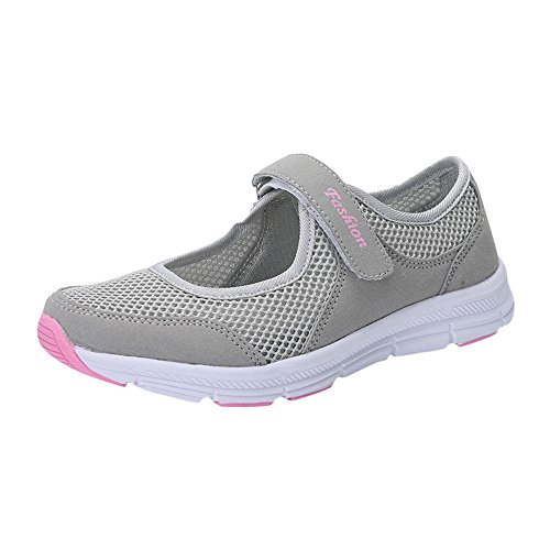 VEMOW Sandals for Women, Trainers Mary Janes Cute Lace-up Flats Flip Flops Thongs Espadrilles Wedge Running Walking Dance, Sandals Anti Slip Fitness Running Sports Shoes Gray