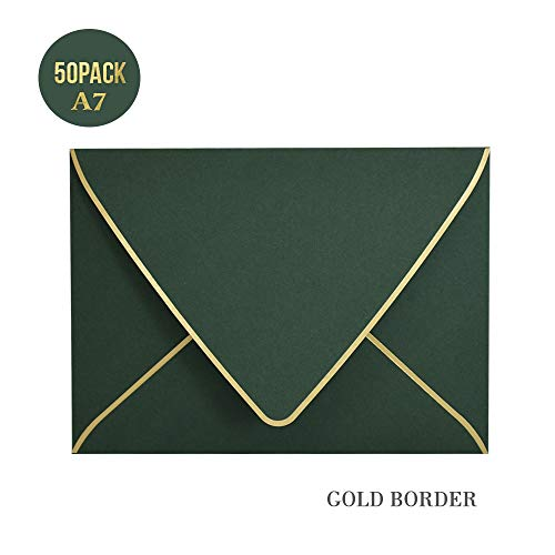 A7 Green Envelopes with Gold Border 5 x 7 - V Flap, Quick Self Seal, for 5x7 Cards| Perfect for Weddings, Invitations, Photos, Graduation, Baby Shower (Green)]()