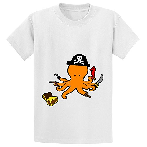 octopus pirate cute Unisex Crew Neck Graphic T-shirt White