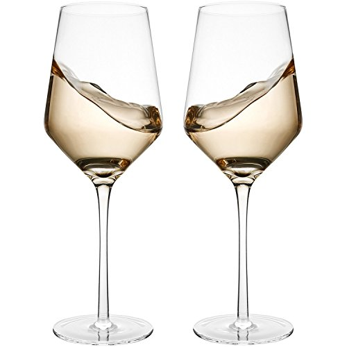 (Bella Vino Italian Red Wine Glasses 15.5 Ounce 9.1'', Laser Cut Rim For Wine Tasting, Lead-Free Cups, Elegant Drinking Glassware, Dishwasher Safe, White or Red Wine Glass Set of 2)
