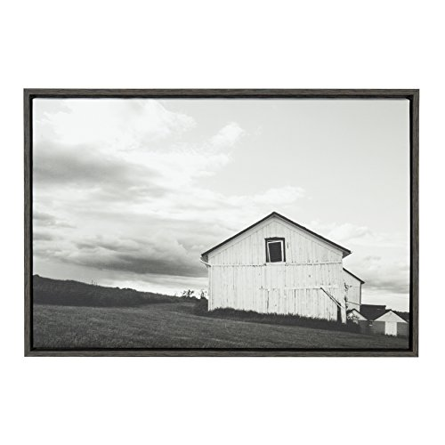 Black White Landscape Photographs - Kate and Laurel - Sylvie Silo Barn Landscape Black and White Photograph, Framed Canvas Wall Art by F2 Images, 23 x 33 Dark Gray
