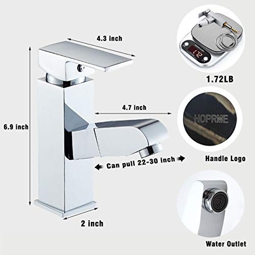 Bathroom Faucet Chrome Pull Out Square Wrench Sink Brass Stainless Steel Modern Single Handle Hole Waterfall Cold Hot Water with Widespread Sprayer for Basin Laundry Vanity Wet Bar