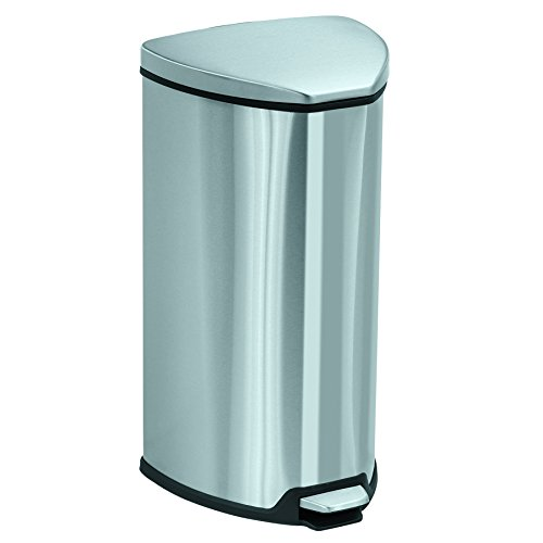 Saf9686ss Safco Step - Safco Products 9686SS Stainless Step-On Trash Can, 7-Gallon, Stainless Steel