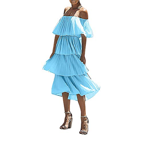 Farmerl Dresses for Women Chiffon Off Shoulder Ruffles Solid Party Layered Dress Blue