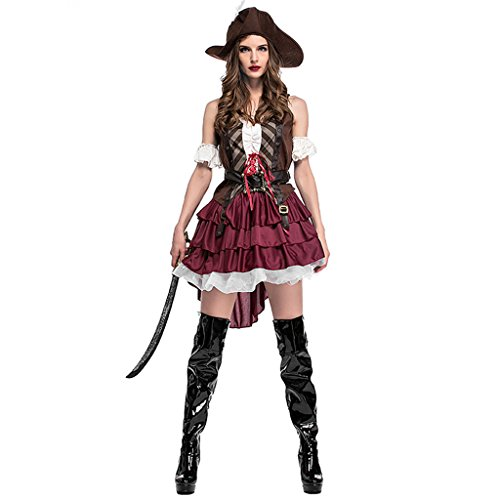 HUGGUH Adult Female Pirate Costumes Halloween Cosplay Queen Pirate Disfraces Uniform Temptation Exotic Clothes -