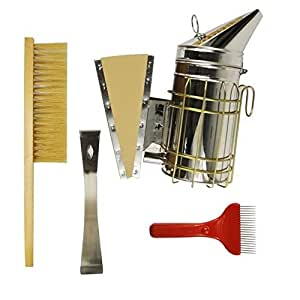 NAVADEAL Set of 4 Beekeeping Tools Starter Kit - Stainless Steel Bee Hive Smoker, Uncapping Fork Scratcher, Scraper, Brush - Great Handy Functional Equipment for Beekeeper Beginners