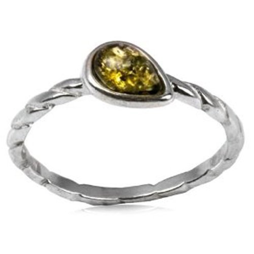 Sterling Silver Green Amber Drop Design Ring