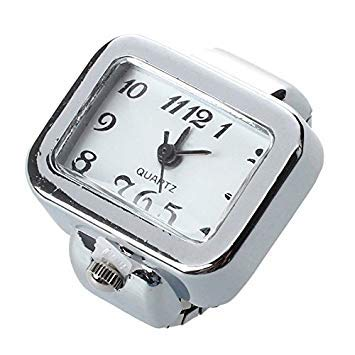 Bloomgreen Co. Quartz Watch Ring Watch Digit Dial Arabic Rectangle White Unisex Jewelry ()