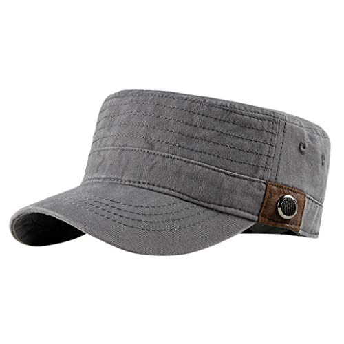 (Military Caps for Men  Brim Adjustable Strap Cadet Caps Army Caps Unique Design Vintage Flat Top Hats Sun Cap)