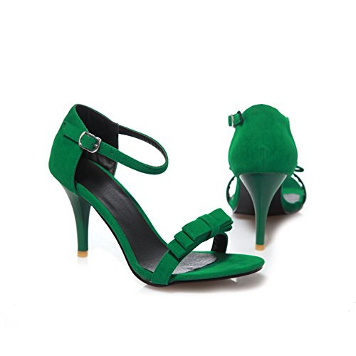 VogueZone009 Womens Open Toe Peep Toe High Heels Spikes Stilettos PU Frosted Solid Sandals with Bowknot, Green, 7.5 B(M) US