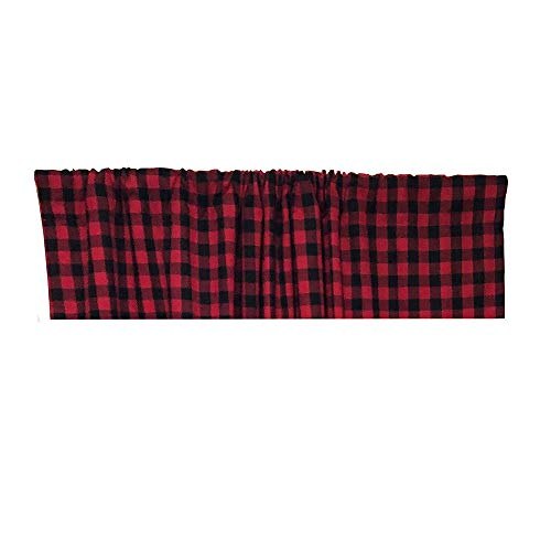HTFD Black and Red Buffalo Check Valance Window Treatment Curtains for Kitchen, 53x16inch, Pack of ()