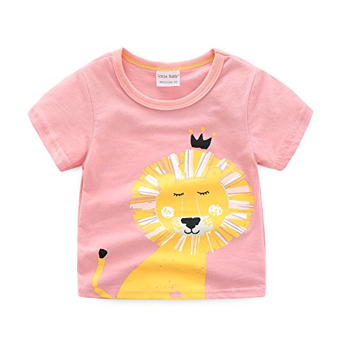 Toddler Boys Girls T-shirts Tops Organic Short-sleeved Cute Animals Prints Embroidery Unisex 2t-7t (4T, Pink1) by KiKi Shop