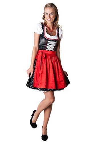 Ludwig und Therese Damen Trachten Dirndl Missi mini schwarz/rot 36