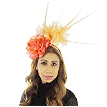 Gorgeous Ladies Ascot Kentucky Derby Wedding Fascinator Hat Peach Coral