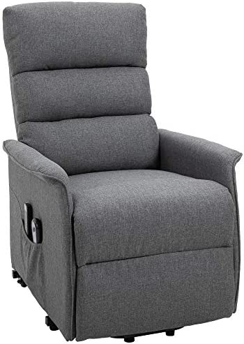 HOMCOM Electric Power Lift Recliner Massage Sofa Vibration with Remote for Elderly, Living Room Office Furniture, Grey