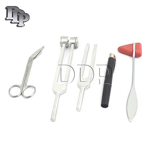 SET OF 5 PCS REFLEX PERCUSSION TAYLOR HAMMER + PENLIGHT + TUNING FORK C 128 C 512 + BANDAGE SCISSORS (DDP BRAND) ()