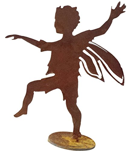 California Home and Garden CH815 Metal Boy Fairy Silhouette on Base, 8 Inch Tall, Rustic Look Artwork, Brownish Red