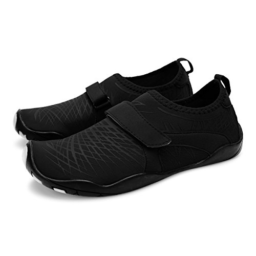 L-RUN Unisex Wading Shoes Outdoor Mutifunctional Sports Breathable Mesh Casual Flat-Heeled Strip Black NQswK8NIQh