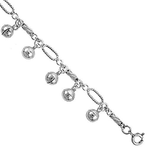 Sterling Silver Jingle Bells Anklet 12mm wide, fits 9 - 10 inch ankles (Chime Ball Bracelet)
