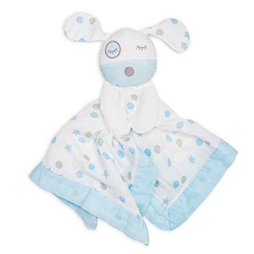 lulujo Baby Muslin Lovies Toy, Blue Puppy ()