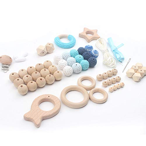 (DIY Teething Kit for Baby Shower Gift Perfect for Homemade Waldorf Baby Toys, Wooden Teether Ring and Beads, 61 PCS,)