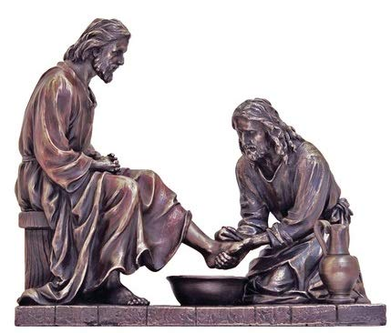Jesus Washing Feet 9 Inch Bronze Statue