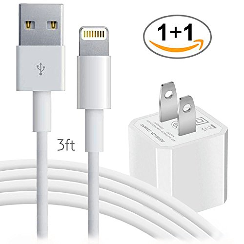 iPhone X 8 8Plus 7 7Plus 6 6Plus 6S 6SPlus SE 5S/5/5C, iPad, iPod Wall Charger - 3FT Lightning Data Sync Cable/Charging Cord with USB AC Outlet Power Travel Adapter Brick