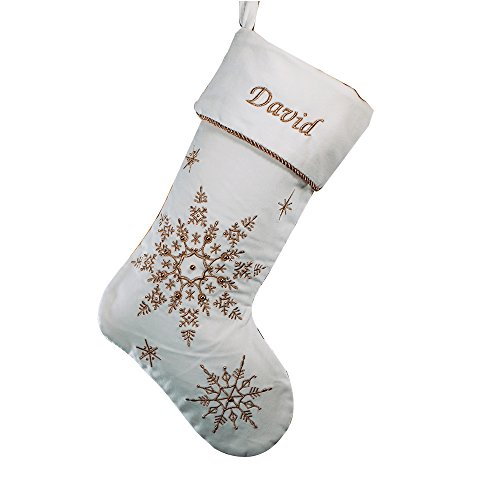 (GiftsForYouNow Gold Snowflakes Personalized Christmas Stocking, 19