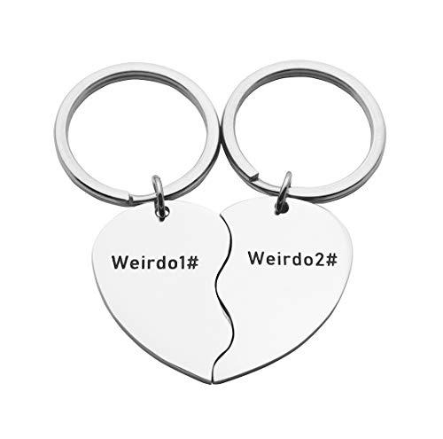 Eilygen Best Friends Heart Charm Keychains Set Friends Jewelry Gifts for Best Friends (Weirdo#1 Weirdo#2)