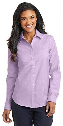 Port Authority Ladies SuperPro Oxford Shirt, Soft Purple, Medium