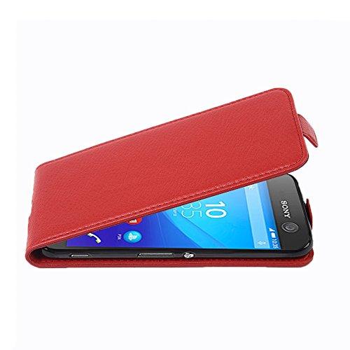 Cadorabo �?Funda Flip Style para >                          Sony Xperia M5                          < de Cuero Sintético �?Etui Case Cover Carcasa Caja Protección in NEGRO-ÓXIDO ROJO-INFIERNO