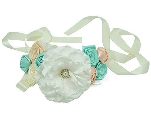 Spmor Maternity Sash Flower Belt Baby Shower Headband Dress Accessories Blue