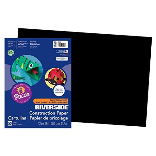 Riverside 3D PAC103631BN Construction Paper, Black, 12
