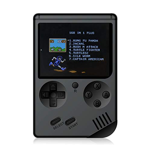 JAFATOY Retro Handheld Games Console - 168 Classic Games 8 Bit Games 3 inch Screen Video Games with AV Cable Play on TV (Black)