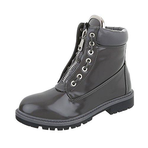 Design 1 17 Blockabsatz Ital Schnürstiefeletten Damen Stiefel A Grau vxgdwqa6d