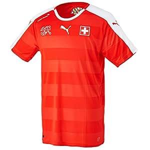 Puma para Hombre Camiseta de fútbol réplica de la Camiseta de Suisse Home, Red/White, S, 748740 01