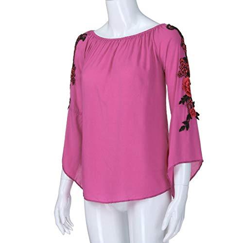 Chemise Automne Lin Chic Dnud Manche Shirt Rose Basique Tee Hiver SANFAHSION Longue Tops paule Mode Casual Vetement Vif Femme Habite Florale Haut dXfIqf8wUx