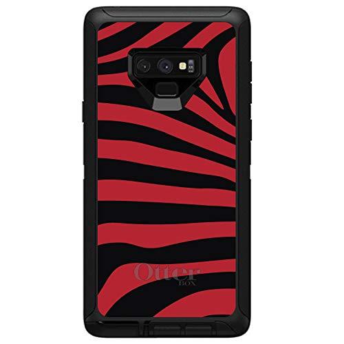 - DistinctInk Case for Galaxy Note 9 - Custom Black OtterBox Defender - Black Red Zebra Skin Stripes