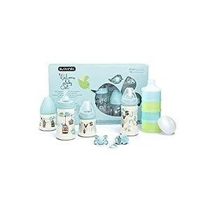 Suavinex Bienvenido Boy Paquete de 4 botellas de bebé Chupete + Clip + Surtido + dispensador de leche de la turquesa
