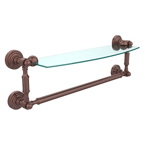 Allied Brass WP-33TB/18-VB Glass Shelf with Towel Bar, 18-Inch x 5-Inch, Polished - Glass Traditional Vb