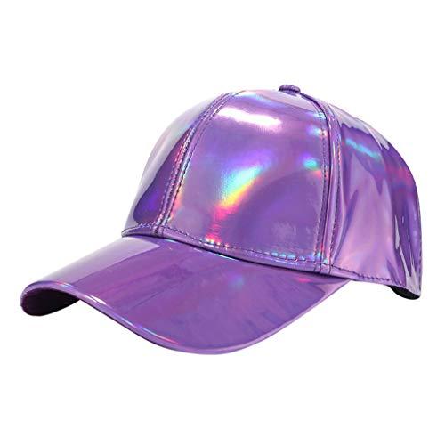 Print Screen Cap Embroidered - Loprt Men and Women Light Laser Baseball Cap Street Trend Cap Sunscreen Sun Hat (Purple)