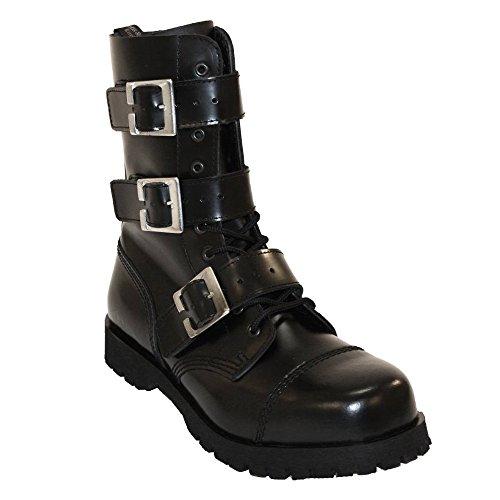 3 Zip Schnallen Loch Buckle Boots Rangers Schwarz 10 amp; Stiefel Braces vA44YIq