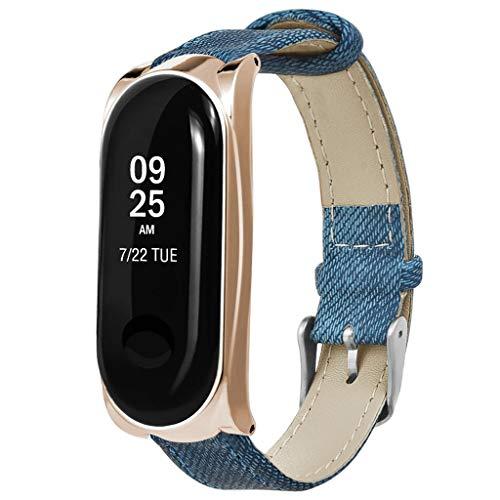Price comparison product image For Xiaomi Mi Band 3 BraceletShaoshaoReplacement Cowboy Style Leather Wristband Band Strap Bracelet + Metal Case (Rose Gold)