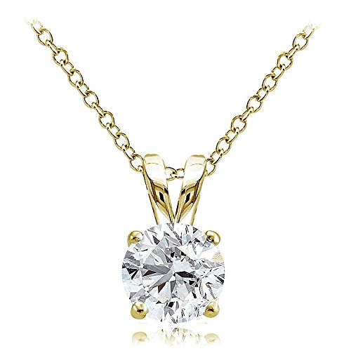 (Hoops & Loops Yellow Gold Flash Over Sterling Silver 1.25ct Cubic Zirconia 7mm Round Solitaire Necklace)