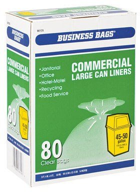 Business Bags Commercial Large Trash Can Liners 50 Gal. 0.55mil Clear 80 Bags