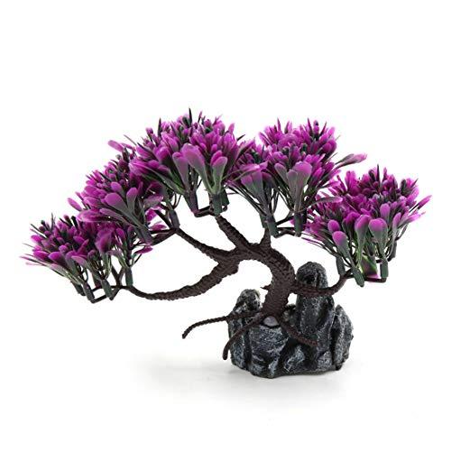 uxcell Aquarium Decorative Plastic Plant Aqua Landscape Ornament Home Decoration Purple