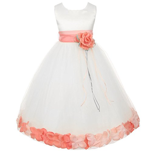Big Girls White Sleeveless Satin Bodice Floating Flower Petals Girl Dress with Matching Organza Sash and Double Tulle Skirt - Peach Set - Size 8